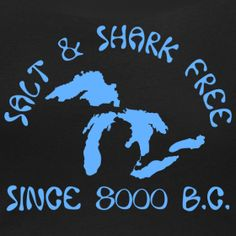 It's Shark Week, and if you are a little freaked out by it, just remember the Great Lakes are and have always been salt and shark free!  This is a t-shirt from www.downwithdetroit.com