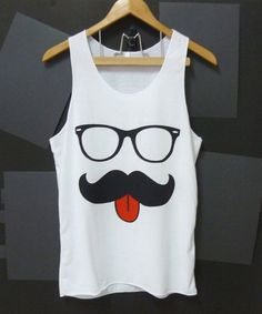 Nerd eyeglasses mustache tank top red tongue funny by CuteClassic, $13.00