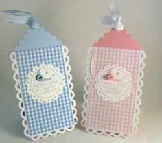 stamping up north: baby cards, love the gingham and baby bottle shape!