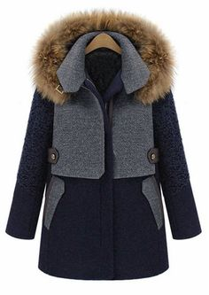 Casual Hooded Color Block Thicken Faux Fur Embellished Long Sleeve Women's Coat