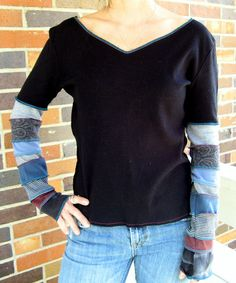 Upcycled Tshirt Top Black