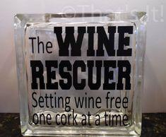 wine cork holder, glass block cork collector, the Wine Rescuer, mothers day gift, wine drinker, housewarming gift, birthday gift