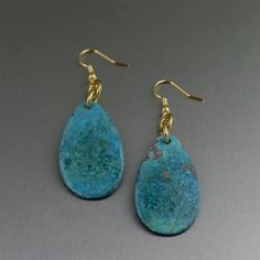 Superb Blue Patinated Copper Earrings Presented on #ILoveCopperJewelry #7thAnniversary #trendy https://www.ilovecopperjewelry.com/blue-patinated-copper-tear-drop-earrings.html