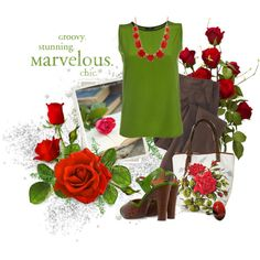 green and roses by sagramora on Polyvore