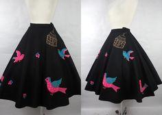 1950's Vintage Black Felt Circular Skirt with by vintagebluemoon, $250.00