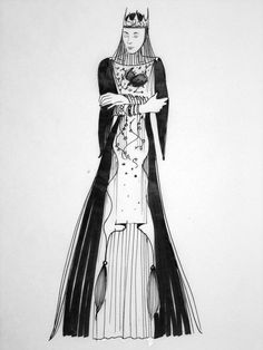 Queen Ravenna costume sketch from Snow White and the Huntsman