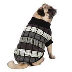 Chenille Block Pet Sweater Size: Small / Medium, Color: Black East Side Collection,.