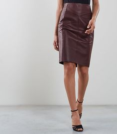 82aa5b626fc30f REISS - MEGAN LEATHER PENCIL SKIRT Leather Cleaning, Block Heel Shoes,  Oxblood, Reiss.