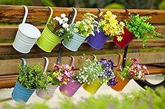 Dipamkar® Set of 10 Metal Hanging Flower Pots With Drainage Hole Flower Bucket Balcony Planter Garden Home Ornaments