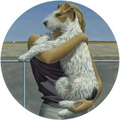 Woman and Terrier by Alex Colville from Private Collection Alex Colville, Rescue Dogs, Animal Rescue, 24. August, Magic Realism, Galleries In London, Dog Years, Canadian Artists, Look At You