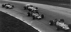 Italian GP at Monza, 1969: Jackie Stewart (Matra), Jochen Rindt (Lotus), Jean-Pierre Beltoise (Matra) and Bruce McLaren (McLaren) finished in precisely that order, all separated by just a fifth of second. The two Matras sure have different aero setups.