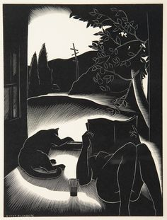 PAUL LANDACRE  Sultry Day.  Wood engraving, 1937.