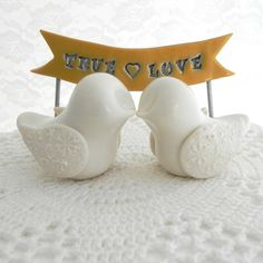 Wedding Cake Topper - Ivory Love Birds with Banner, Can Customize With Your Names or Phrase on Etsy, $62.00