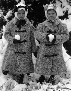 Vintage girls ready for a snowball fight.