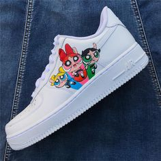 Powerpuff Girls by nikoswoosh Cute Nike Shoes, Cute Sneakers, Nike Air Shoes, Nike Shoes Outlet, Girls Sneakers, Sneakers Fashion, Custom Painted Shoes, Custom Shoes, Jordan Shoes Girls