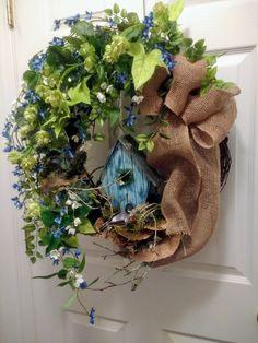 Spring/Summer Grapevine Floral Wreath with Birdhouse / Greenery Wreath / Burlap Bow / Blue Floral Wreath / Birdhouse Wreath
