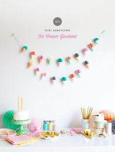 DIY Mini Ice Cream Cone Garland