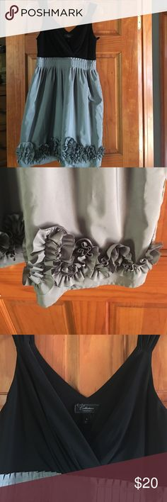 NWOT Cocktail dress Grey and black cocktail dress low neck line and lined bottom. Side zip closure Dress Barn Dresses