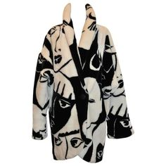 DonnyBrook Bold Black & White Abstract 'Faces' Faux Fur Car Coat |... (3.765 RON) ❤ liked on Polyvore featuring outerwear, coats, coats & jackets, fur, jackets, car coat, black and white coats, imitation fur coats, black and white faux fur coat and fake fur coats