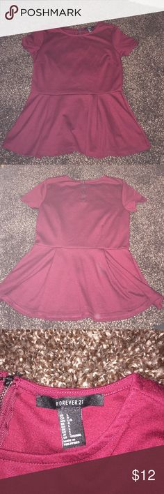 FOREVER 21 Burgandy peplum top Worn ONCE! super cute for going out and business casual!! Forever 21 Tops