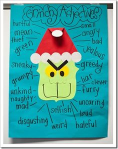 Little Q&A, Christmas in My Classroom, & GRINCH DAY Good idea for learning adjectives (during Christmas) such a cute idea for the Grinch!Good idea for learning adjectives (during Christmas) such a cute idea for the Grinch! Grinch Who Stole Christmas, Christmas Fun, Holiday Fun, Xmas Elf, Classroom Fun, Classroom Activities, Therapy Activities, Language Activities, Teaching Activities