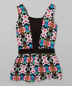 Look at this Pink & Black Geometric Romper - Girls on #zulily today!