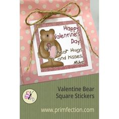 Valentine Bear Square Stickers from Primfection Designs. Create cute, personalized square Valentine's Day goodie bag or  treat stickers. Stickers come in various sizes.  Customize the stickers with your own greeting, desired  font and font color.  Stickers are peel and stick;  laser printed on  high quality paper stock.#valentinesday #valentinestreats #valentines #stickersforvalentines #teddybear #happyvalentinesday  #treatbags #primfectiondesigns