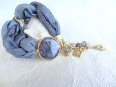 Grey Agate Bracelet, Turkish Silk  Bracelet , Gold Bracelet, Feminine, Handmade, OOAK,