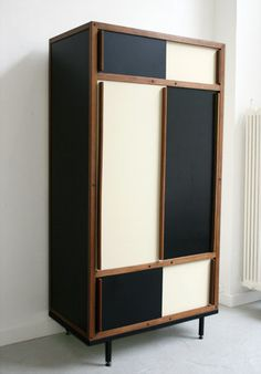 Dresser by André Sornay in the style of Charlotte Perriand; Mahogany frame, laquered panels; 1950s