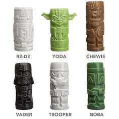 Star Wars Boba Fett, Chewbacca, Darth Vader, R2-D2, Stormtrooper, and Yoda Geeki Tikis Drinkware