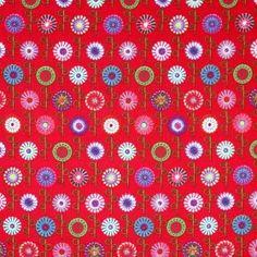 Kinderstoffe Baumwoll - Lutscher Blume Rot