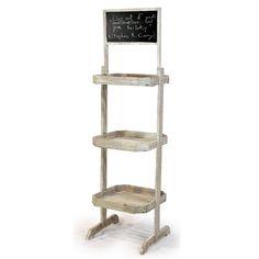 Wooden Three Shelf Retail Display With Chalkboard
