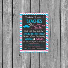 Hey, I found this really awesome Etsy listing at https://www.etsy.com/listing/263643609/staches-or-lashes-gender-reveal-party