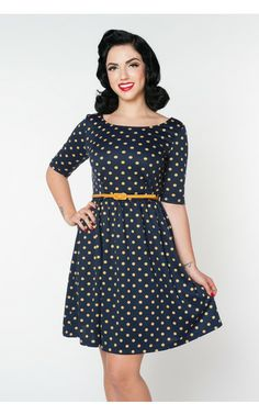 Pinup Girl Clothing- Spot of Sunshine Dress in Navy | Pinup Girl Clothing- love!