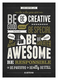 Motivational typography poster - Be kind Be greater Be awesome - Retro-style wall decor print A3. $18.00, via Etsy.