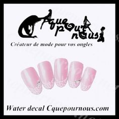 Stickers d'ongles Nail art Water decal french roses blanches