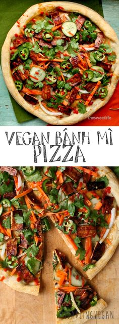 The perfect fusion: Bánh mì and Pizza come together to create this vegan Bánh mì Pizza. Click the picture for the full recipe. The perfect fusion: Bánh mì and Pizza come together to create this vegan Bánh mì Pizza. Click the picture for the full recipe. Vegan Pizza Recipe, Vegan Dinner Recipes, Delicious Vegan Recipes, Whole Food Recipes, Cooking Recipes, Healthy Recipes, Vegan Pie, Healthy Food, Vegan Foods
