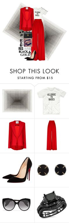 """""""When All Else Fails Go With Red"""" by sayitwearit on Polyvore featuring Hebe Studio, Christian Louboutin, Melissa Joy Manning, Alexander McQueen and Gucci"""