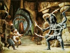"""One of my favorite scenes in ANY fantasy film - Sinbad and his men fight Kali from """"The Golden Voyage Of Sinbad (although if you want to be technical, the statue was really one depicting Shiva) Fantasy Movies, Sci Fi Movies, Sci Fi Fantasy, Fantasy Characters, Horror Movies, Scary Movies, Cool Monsters, Famous Monsters, Classic Monsters"""