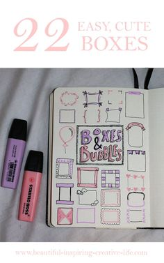22 Easy Boxes & Bubbles For Your Bullet Journal! - . . . Life. Bullet Journal Boxes, Bullet Journal Banner, Bullet Journal Notebook, Bullet Journal Inspo, Bullet Journal Ideas Pages, Daily Journal, Music Journal, Journal Paper, Bullet Journal Highlighters