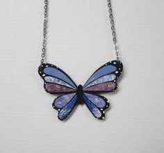 Recycled Paper Mosaic Butterfly Necklace  by MarjEngleDesigns