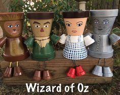 Wizard of Oz Set Garden Pot People, Flower Pot People, Pot People Planters, Dorothy, Tin Man, Cowardly Lion, Scarecrow