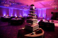 purple uplighting w/gobo design on the dance floor