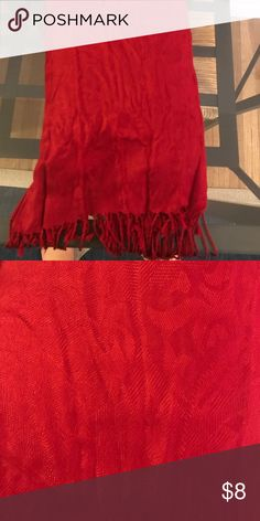 Red pashmina scarf Very detailed, adds dimension and color to any outfit Accessories Scarves & Wraps