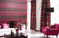 Harlequin-Living-Room-Design. Pink Living Room Designs - Contemporary Style