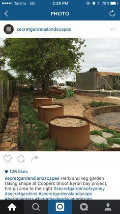 Vege planters Dry Garden, Vegetable Garden, Fire Pit Area, Taking Shape, Planters, Herbs, Landscape, Vegetables, Scenery