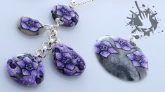 Polymer clay tutorial collana con fiore viola / collier with violet mill...
