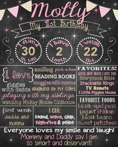 Pink and Gold First Birthday Chalkboard by ChalkingItUpBoards