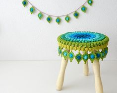 """Crochet PATTERN Peacock Feather, Stool Cover and Garland """"Pop Up"""" - Original Design by TheCurioCraftsRoom"""