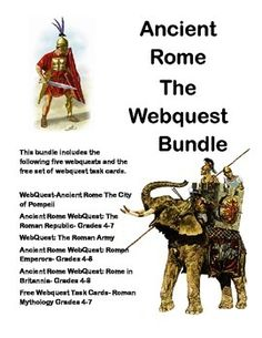 This collection is designed to give students historical background knowledge about Ancient Rome.  This includes five WebQuests that are offered in my store separately. This bundle includes the following five webquests and the free set of webquest task cards.WebQuest-Ancient Rome The City of Pompeii Ancient Rome WebQuest: The Roman Republic- Grades 4-7WebQuest: The Roman ArmyAncient Rome WebQuest: Roman Emperors- Grades 4-8Ancient Rome WebQuest: Rome in Britannia- Grades 4-8Free Webquest Task…
